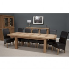 Bordeaux Oak Twin Panel Large Extending Dining Table