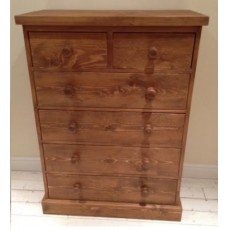 Rustic Plank Pine Chest of Drawers - 2 Over 4 Drawer Chest