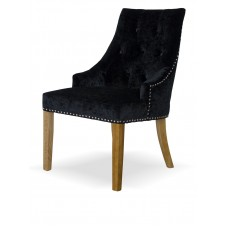 Bergen Black Crushed Velvet Fabric Oak Chair
