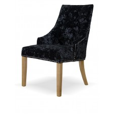 Bergen Black DEEP Crushed Velvet Fabric Oak Chair