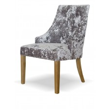 Bergen Silver DEEP Crushed Velvet Fabric Oak Chair
