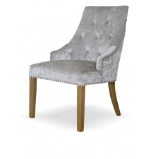 Bergen Silver Crushed Velvet Fabric Oak Chair