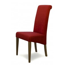 Italia Chilli Fabric Oak Dining Chair