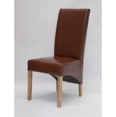Contempo Tan Leather Oak Dining Chair