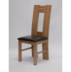 H - Back Oak Leather Dining Chair