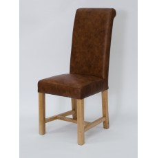 Henley Mocha Oak Leather Dining Chair