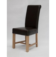 Louisa Chunky Brown Leather Oak Dining Chair
