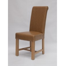 Louisa Chunky Tan Leather Oak Dining Chair