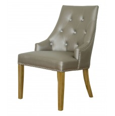 Marjukka Stone Leather Oak Chair