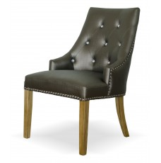 Marjukka Tungsten Leather Oak Chair