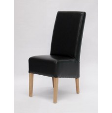 Oslo Black Leather Oak Dining Chair