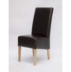 Oslo Brown Leather Oak Dining Chair