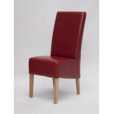 Oslo Red Leather Oak Dining Chair