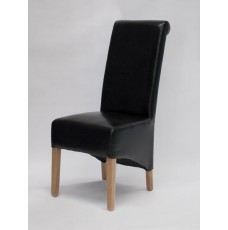 Richmond Black Leather Oak Dining Chair