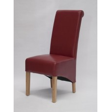 Richmond Red Leather Oak Dining Chair