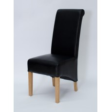 Richmond Noir Oak Leather Dining Chairs