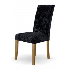 Stockholm Black DEEP Crushed Velvet Fabric Oak Dining Chair