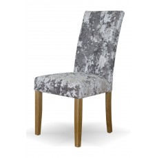 Stockholm Silver DEEP Crushed Velvet Fabric Oak Dining Chair