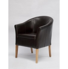 Oslo Brown Leather Oak Tub Chair