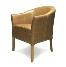 Oslo Tan Leather Oak Tub Chair