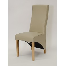 Wave Bone Leather Oak Dining Chair