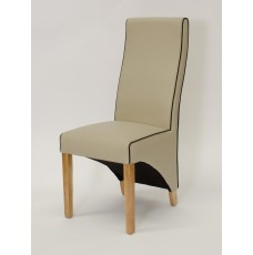 Wave Silverstone Bone / Noir Piping Leather Oak Dining Chair