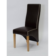 Wave Suzuka Coco / Bone Piping Leather Oak Dining Chair