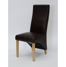 Wave Coco Leather Oak Dining Chair