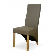 Wave Mushroom Leather Oak Dining Chair