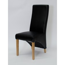 Wave Noir Leather Oak Dining Chair