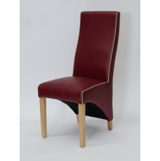 Wave Monza Ruby / Bone Piping Leather Oak Dining Chair