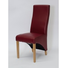 Wave Ruby Leather Oak Dining Chair