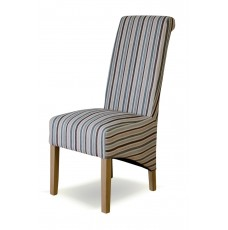 Richmond Natur Stripe Fabric Oak Dining Chair