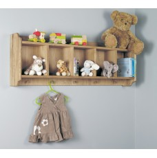 Amelie Oak Wall Shelf with Hanging Pegs