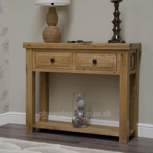 deluxe oak hall console table