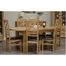 Deluxe Oak Twin Leaf Oval Extending Dining Table