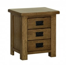 Devonshire Rustic Oak Small 3 Drawer Bedside