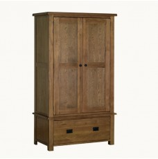 Devonshire Rustic Oak 1 Drawer Double Wardrobe