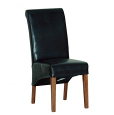 Devonshire Rustic Oak Black Faux Leather Chair