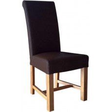 Chunky Scroll Brown Leather Oak Dining Chair