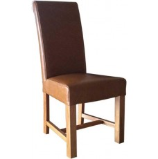 Chunky Scroll Tan Leather Oak Dining Chair
