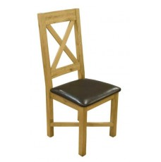 Cross Back Oak Leather Dining Chair