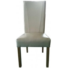 Contempo Ivory Leather Oak Dining Chair