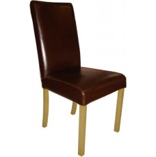 Marianna Brown Leather Oak Dining Chair
