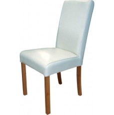 Marianna White Leather Oak Dining Chair