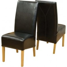 Oslo Oak Black Leather Chair