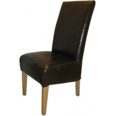 Oslo Oak Brown Leather Dining Chairs
