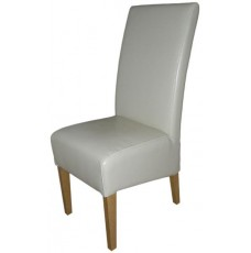 Oslo Oak Cream Leather Dining Chair
