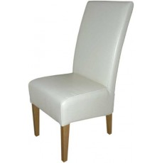 Oslo White Leather Oak Dining Chair