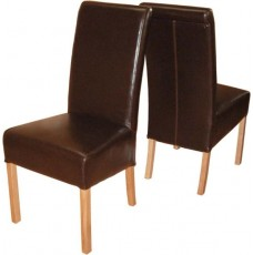 Sophie Brown Leather Rollback Oak Dining Chairs